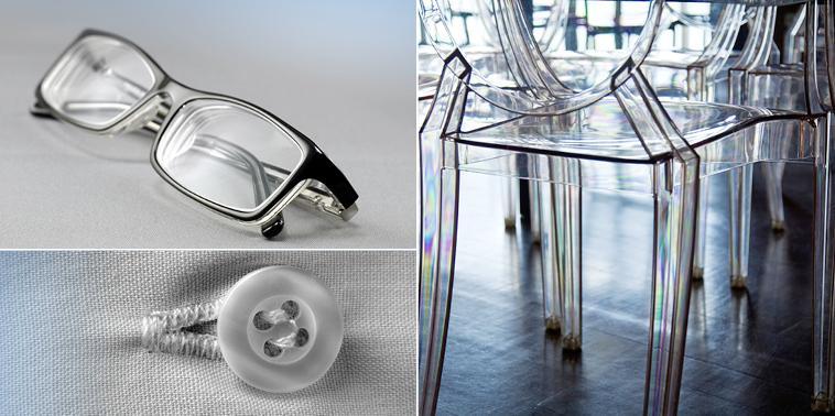 Plexi, bottoni, occhiali in plastica